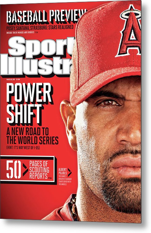 Magazine Cover Metal Print featuring the photograph Los Angeles Angels Of Anaheim Albert Pujols, 2012 Mlb Sports Illustrated Cover by Sports Illustrated
