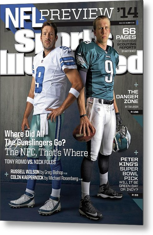 Magazine Cover Metal Print featuring the photograph Nfc Gunslingers 2014 Nfl Football Preview Issue Sports Illustrated Cover by Sports Illustrated