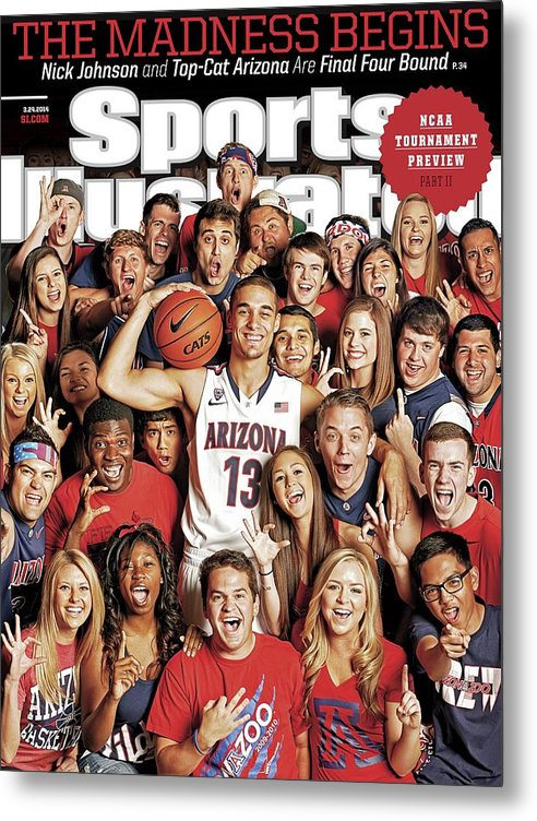 University Of Arizona Metal Print featuring the photograph 2014 March Madness College Basketball Preview Part II Sports Illustrated Cover by Sports Illustrated