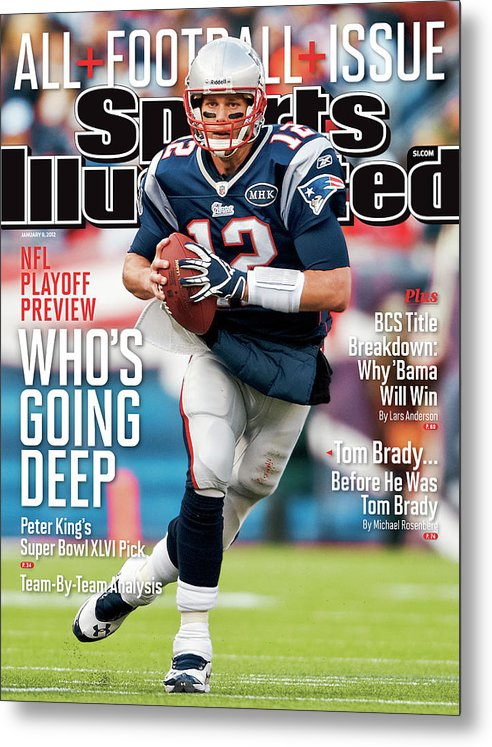 Magazine Cover Metal Print featuring the photograph Whos Going Deep 2012 Nfl Playoff Preview Issue Sports Illustrated Cover by Sports Illustrated