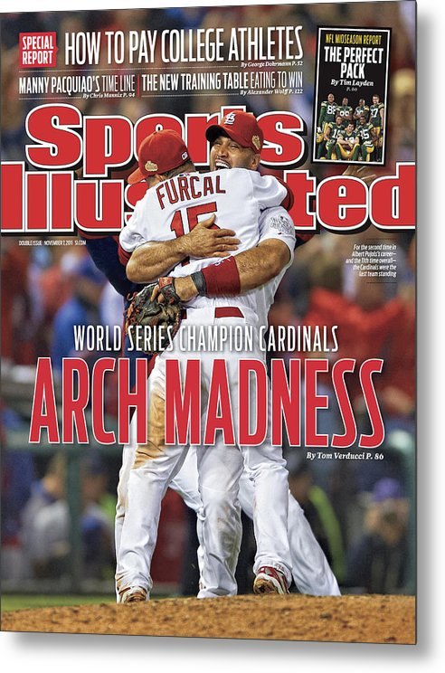Magazine Cover Metal Print featuring the photograph 2011 World Series Game 7 - Texas Rangers V St Louis Sports Illustrated Cover by Sports Illustrated