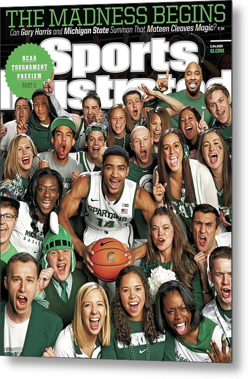 Michigan State University Metal Print featuring the photograph 2014 March Madness College Basketball Preview Part II Sports Illustrated Cover by Sports Illustrated