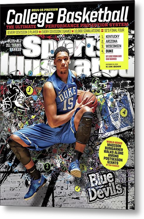 Magazine Cover Metal Print featuring the photograph 2014-15 College Basketball Preview Issue Sports Illustrated Cover by Sports Illustrated