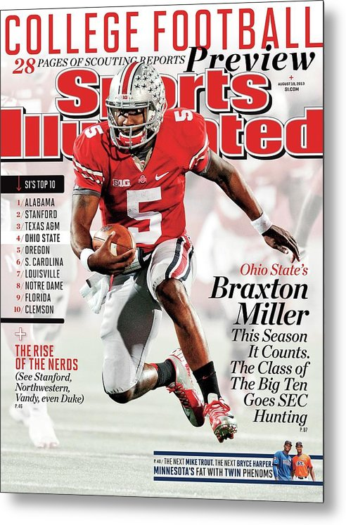 Magazine Cover Metal Print featuring the photograph 2013 College Football Preview Issue Sports Illustrated Cover by Sports Illustrated