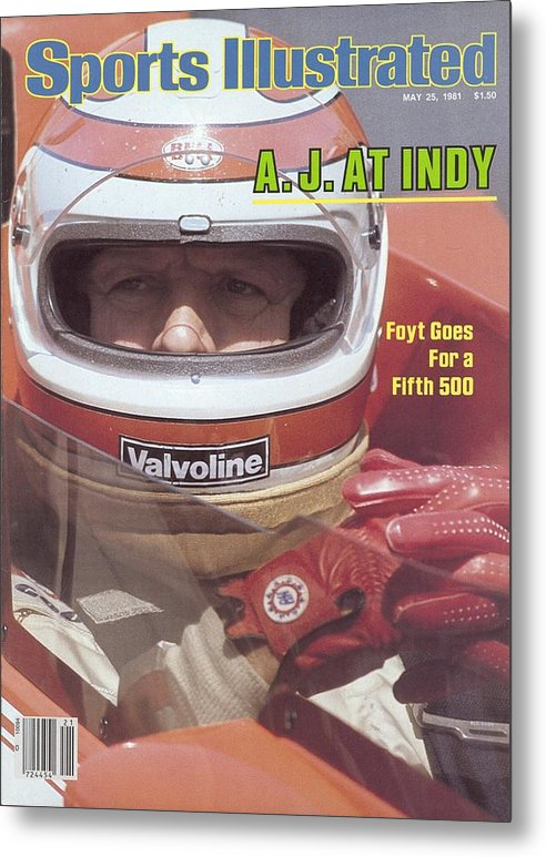 1980-1989 Metal Print featuring the photograph A.j. Foyt, 1981 Indy 500 Qualifying Sports Illustrated Cover by Sports Illustrated