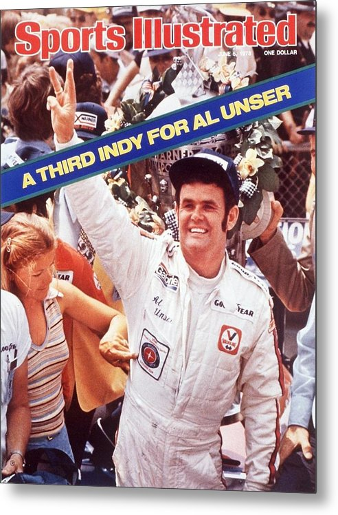 Magazine Cover Metal Print featuring the photograph Al Unser, 1978 Indy 500 Sports Illustrated Cover by Sports Illustrated
