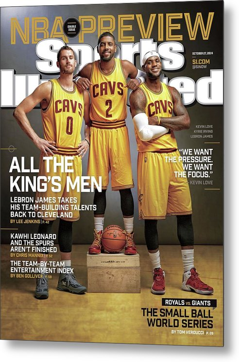 Magazine Cover Metal Print featuring the photograph All The Kings Men 2014-15 Nba Basketball Preview Issue Sports Illustrated Cover by Sports Illustrated
