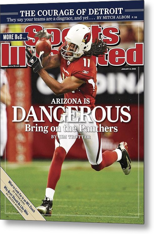 Larry Fitzgerald Metal Print featuring the photograph Arizona Cardinals Larry Fitzgerald, 2009 Nfc Wild Card Sports Illustrated Cover by Sports Illustrated
