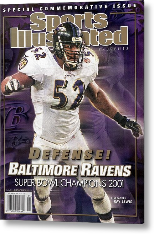 Tampa Metal Print featuring the photograph Baltimore Ravens Ray Lewis, Super Bowl Xxxv Sports Illustrated Cover by Sports Illustrated