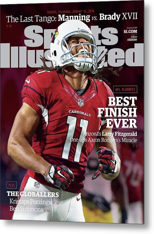 Larry Fitzgerald Metal Print featuring the photograph Best Finish Ever Arizonas Larry Fitzgerald One-ups Aaron Sports Illustrated Cover by Sports Illustrated