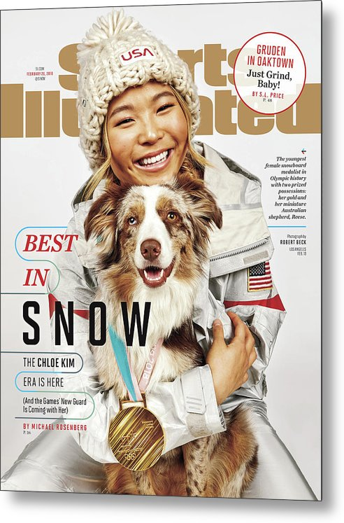 Magazine Cover Metal Print featuring the photograph Best In Snow The Chloe Kim Era Is Here Sports Illustrated Cover by Sports Illustrated
