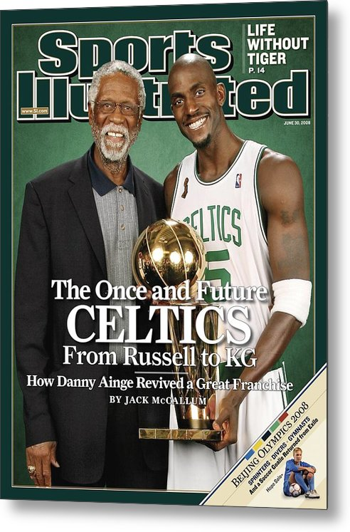 Magazine Cover Metal Print featuring the photograph Bill Russell And Boston Celtics Kevin Garnett, 2008 Nba Sports Illustrated Cover by Sports Illustrated