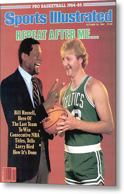 1980-1989 Metal Print featuring the photograph Bill Russell And Boston Celtics Larry Bird Sports Illustrated Cover by Sports Illustrated
