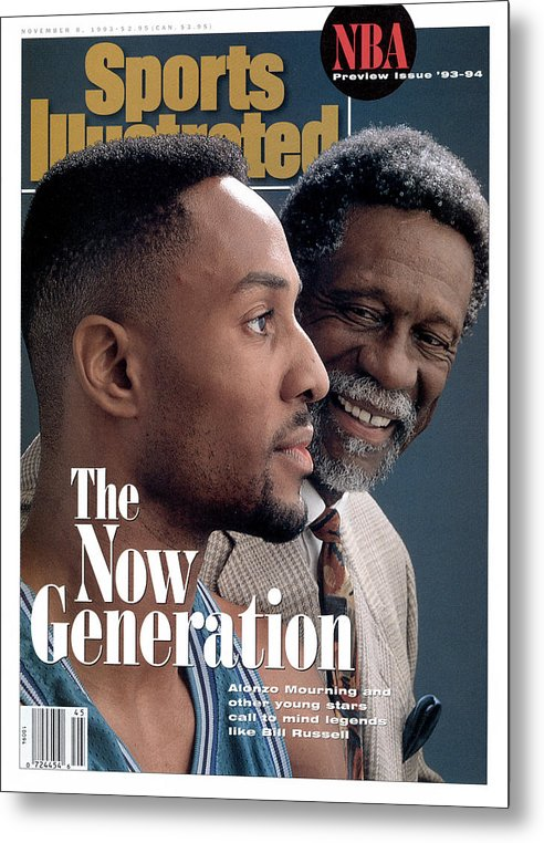 Magazine Cover Metal Print featuring the photograph Bill Russell And Charlotte Hornets Alonzo Mourning, 1993 Sports Illustrated Cover by Sports Illustrated