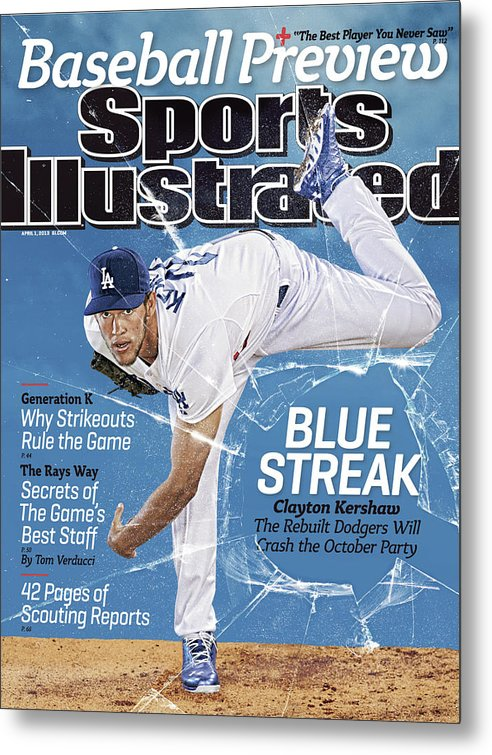 Magazine Cover Metal Print featuring the photograph Blue Streak, 2013 Mlb Baseball Preview Issue Sports Illustrated Cover by Sports Illustrated