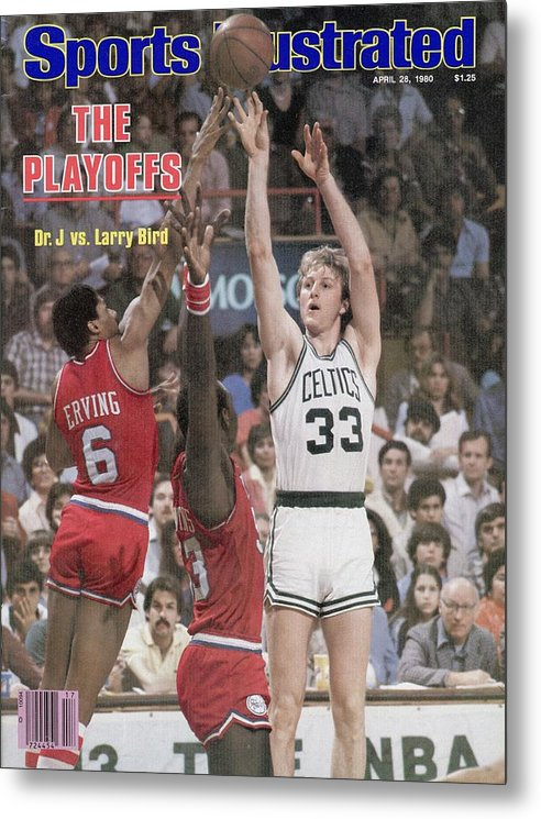 Magazine Cover Metal Print featuring the photograph Boston Celtics Larry Bird, 1980 Nba Eastern Conference Sports Illustrated Cover by Sports Illustrated