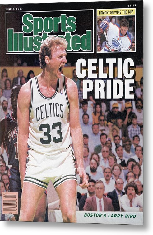 Playoffs Metal Print featuring the photograph Boston Celtics Larry Bird, 1987 Nba Eastern Conference Sports Illustrated Cover by Sports Illustrated