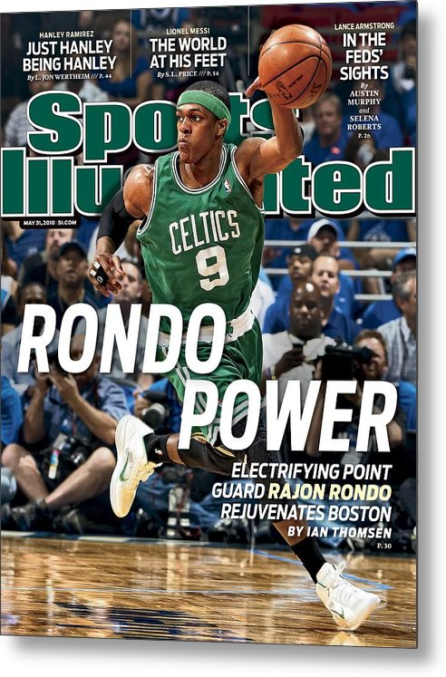 Playoffs Metal Print featuring the photograph Boston Celtics Rajon Rondo, 2010 Nba Eastern Conference Sports Illustrated Cover by Sports Illustrated