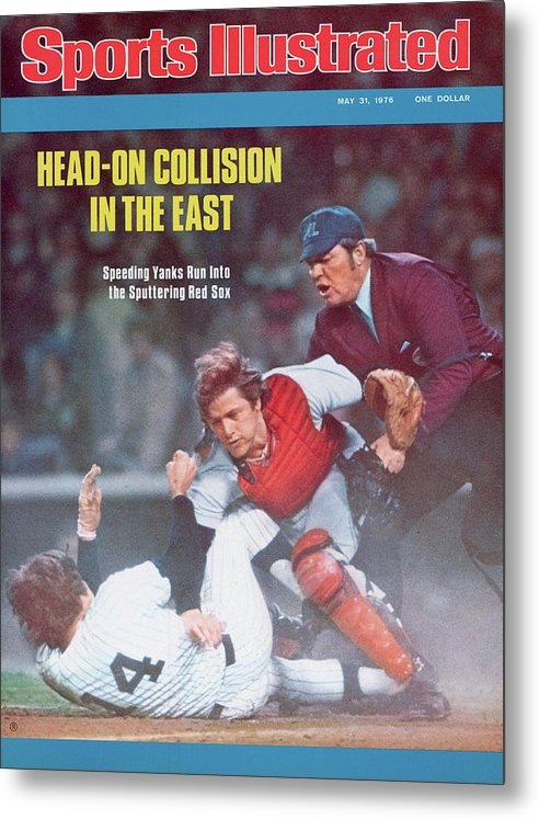 Magazine Cover Metal Print featuring the photograph Boston Red Sox Carlton Fisk... Sports Illustrated Cover by Sports Illustrated