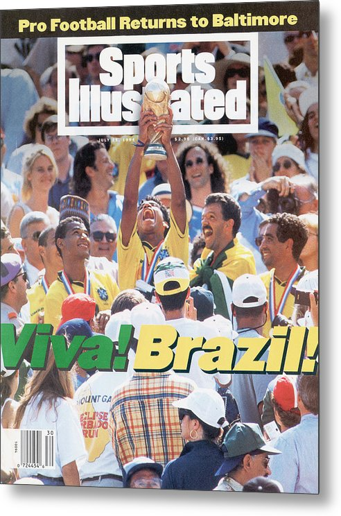 Fifa World Cup Metal Print featuring the photograph Brazil Marcio Santos, 1994 Fifa World Cup Final Sports Illustrated Cover by Sports Illustrated