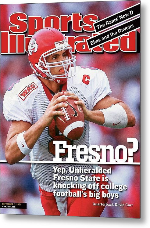 Magazine Cover Metal Print featuring the photograph California State University Fresno Qb David Carr Sports Illustrated Cover by Sports Illustrated