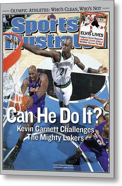 Magazine Cover Metal Print featuring the photograph Can He Do It Kevin Garnett Challenges The Mighty Lakers Sports Illustrated Cover by Sports Illustrated