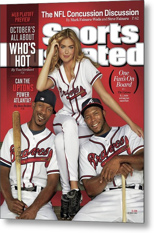 Magazine Cover Metal Print featuring the photograph Can The Uptons Power Atlanta One Fans On Board 2013 Mlb Sports Illustrated Cover by Sports Illustrated