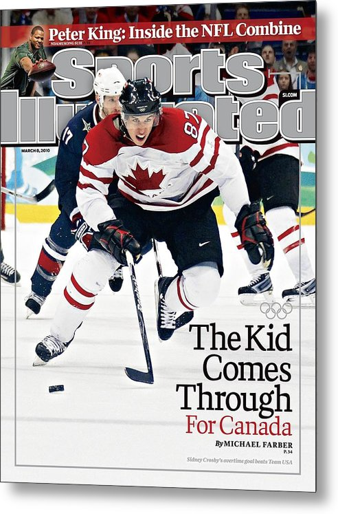 The Olympic Games Metal Print featuring the photograph Canada Sidney Crosby, 2010 Winter Olympics Sports Illustrated Cover by Sports Illustrated