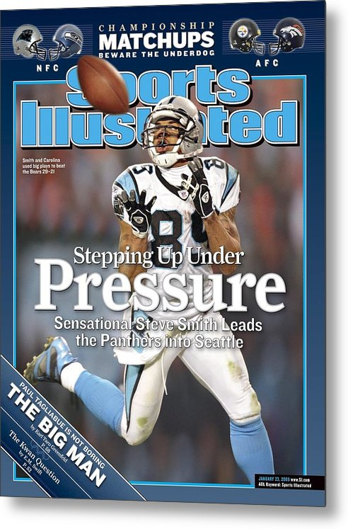 Playoffs Metal Print featuring the photograph Carolina Panthers Steve Smith, 2006 Nfc Divisional Playoffs Sports Illustrated Cover by Sports Illustrated