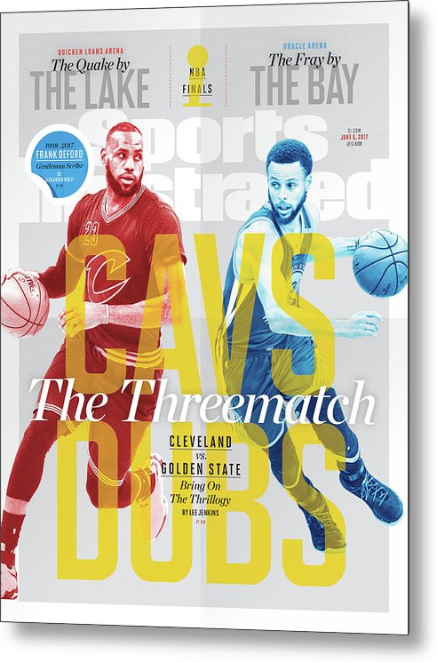 Nba Pro Basketball Metal Print featuring the photograph Cavs - Dubs The Threematch Sports Illustrated Cover by Sports Illustrated