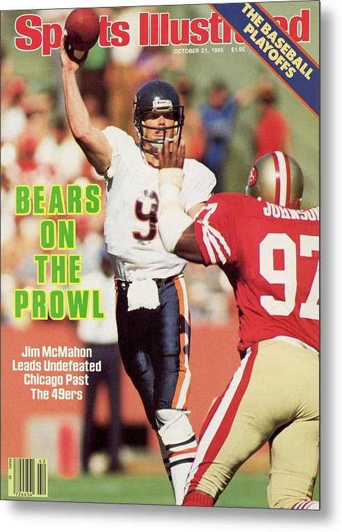 Candlestick Park Metal Print featuring the photograph Chicago Bears Qb Jim Mcmahon... Sports Illustrated Cover by Sports Illustrated