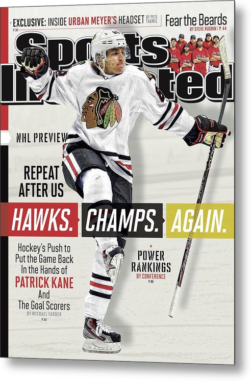 Magazine Cover Metal Print featuring the photograph Chicago Blackhawks Patrick Kane, 2013-14 Nhl Hockey Season Sports Illustrated Cover by Sports Illustrated