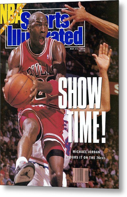 Playoffs Metal Print featuring the photograph Chicago Bulls Michael Jordan, 1990 Nba Eastern Conference Sports Illustrated Cover by Sports Illustrated