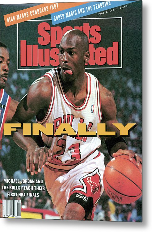 Playoffs Metal Print featuring the photograph Chicago Bulls Michael Jordan, 1991 Nba Eastern Conference Sports Illustrated Cover by Sports Illustrated