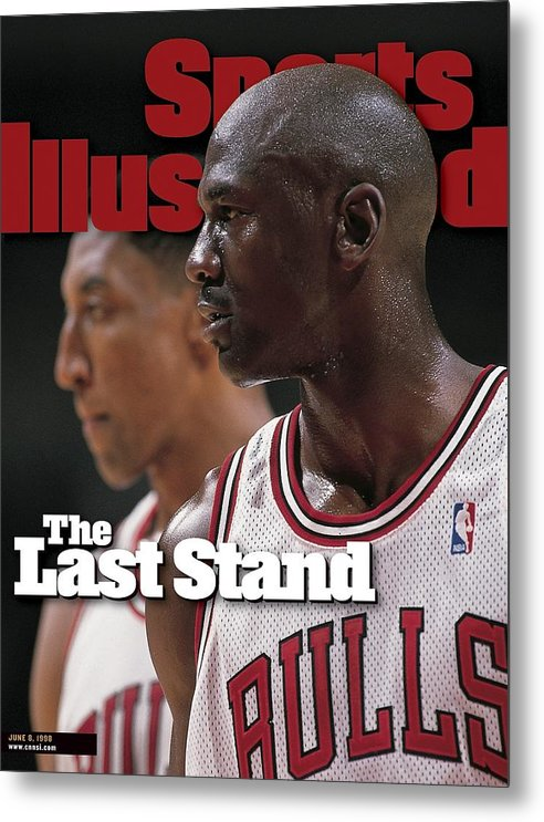 Playoffs Metal Print featuring the photograph Chicago Bulls Michael Jordan And Scottie Pippen, 1998 Nba Sports Illustrated Cover by Sports Illustrated