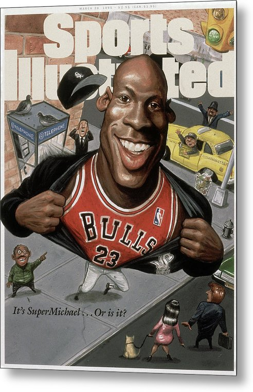 Chicago Bulls Metal Print featuring the photograph Chicago Bulls Michael Jordan Its Supermichael . . . Or Is It Sports Illustrated Cover by Sports Illustrated