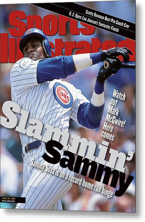 Magazine Cover Metal Print featuring the photograph Chicago Cubs Sammy Sosa... Sports Illustrated Cover by Sports Illustrated
