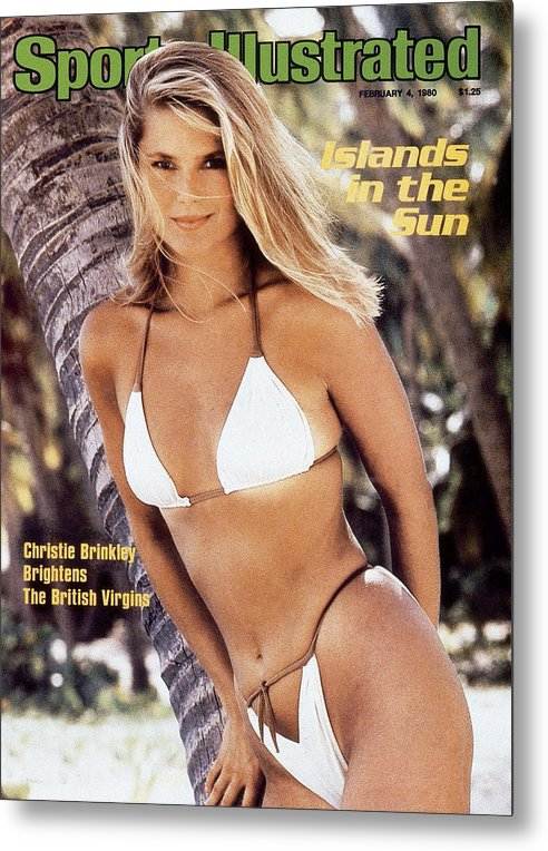 Three Quarter Length Metal Print featuring the photograph Christie Brinkley Swimsuit 1980 Sports Illustrated Cover by Sports Illustrated