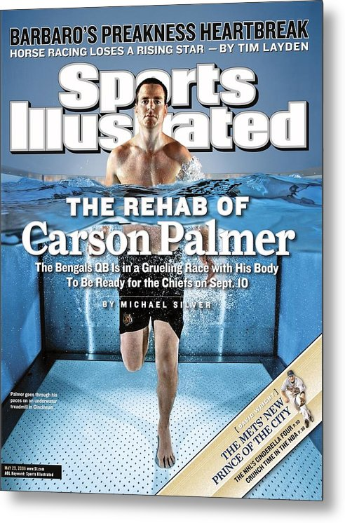 Underwater Metal Print featuring the photograph Cincinnati Bengals Qb Carson Palmer Sports Illustrated Cover by Sports Illustrated