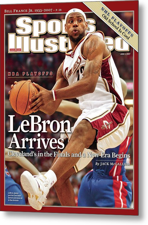 Playoffs Metal Print featuring the photograph Cleveland Cavaliers LeBron James, 2007 Nba Eastern Sports Illustrated Cover by Sports Illustrated