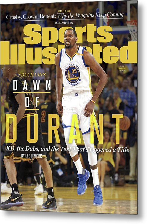 Playoffs Metal Print featuring the photograph Dawn Of Durant Kd, The Dubs, And The Text That Triggered A Sports Illustrated Cover by Sports Illustrated