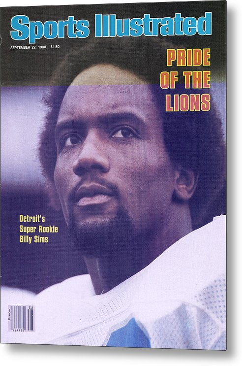 Green Bay Metal Print featuring the photograph Detroit Lions Billy Sims Sports Illustrated Cover by Sports Illustrated