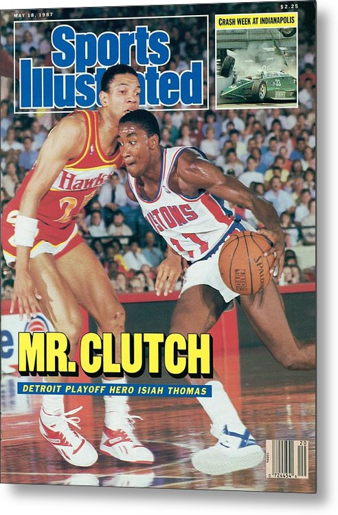 Atlanta Metal Print featuring the photograph Detroit Pistons Isiah Thomas, 1987 Nba Eastern Conference Sports Illustrated Cover by Sports Illustrated