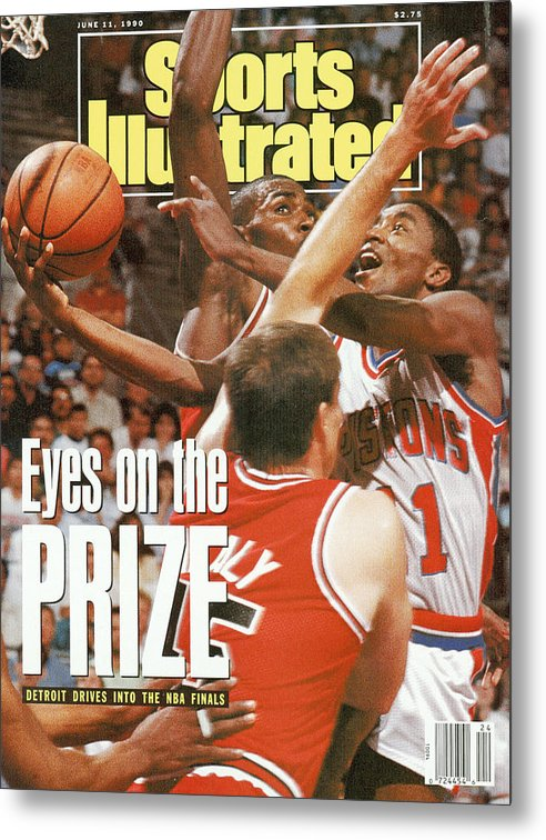 Chicago Bulls Metal Print featuring the photograph Detroit Pistons Isiah Thomas, 1990 Nba Eastern Conference Sports Illustrated Cover by Sports Illustrated