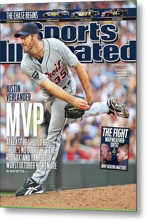 Magazine Cover Metal Print featuring the photograph Detroit Tigers V Minnesota Twins Sports Illustrated Cover by Sports Illustrated