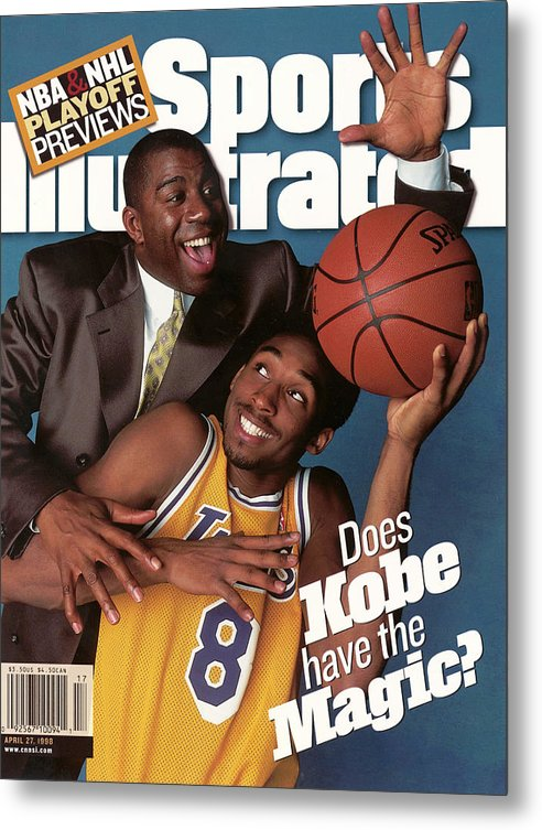 Magazine Cover Metal Print featuring the photograph Does Kobe Have The Magic Sports Illustrated Cover by Sports Illustrated
