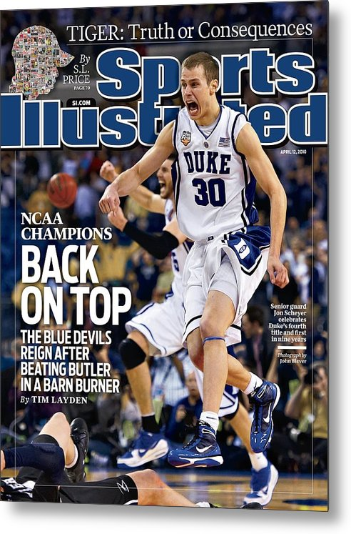 Magazine Cover Metal Print featuring the photograph Duke University Jon Scheyer, 2010 Ncaa National Championship Sports Illustrated Cover by Sports Illustrated