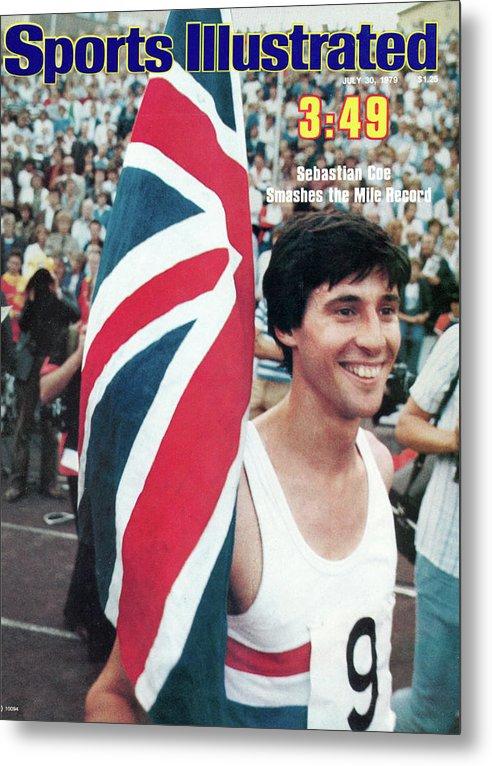 Magazine Cover Metal Print featuring the photograph England Sebastian Coe, 1979 Iaaf Dubai Golden Mile Sports Illustrated Cover by Sports Illustrated