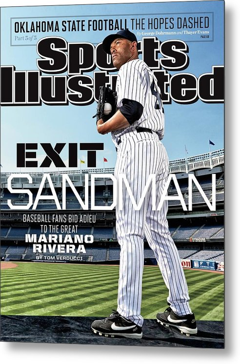 Magazine Cover Metal Print featuring the photograph Exit Sandman Baseball Fans Bid Adieu To The Great Mariano Sports Illustrated Cover by Sports Illustrated