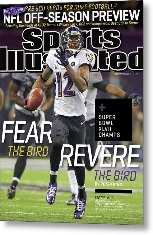 Magazine Cover Metal Print featuring the photograph Fear The Bird, Revere The Bird Super Bowl Xlvii Champs Sports Illustrated Cover by Sports Illustrated